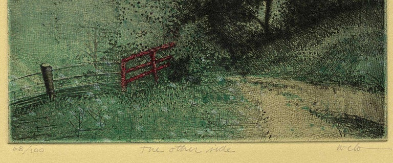 The Other Side (good fences make good neighbors) - American Modern Print by Larry Welo