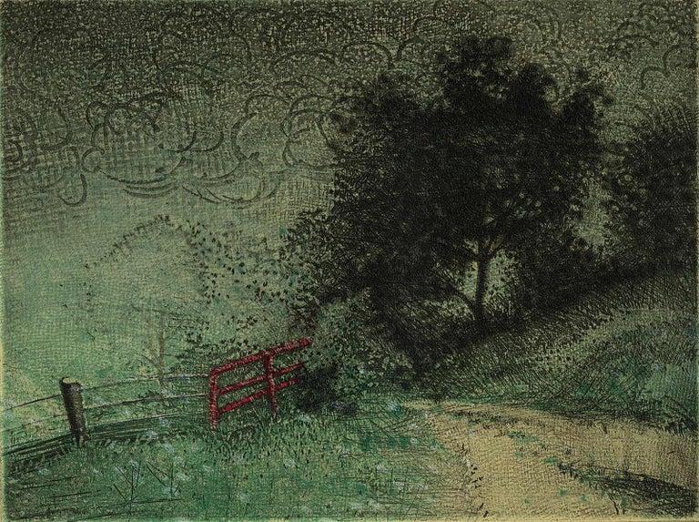 Larry Welo Landscape Print - The Other Side (good fences make good neighbors)
