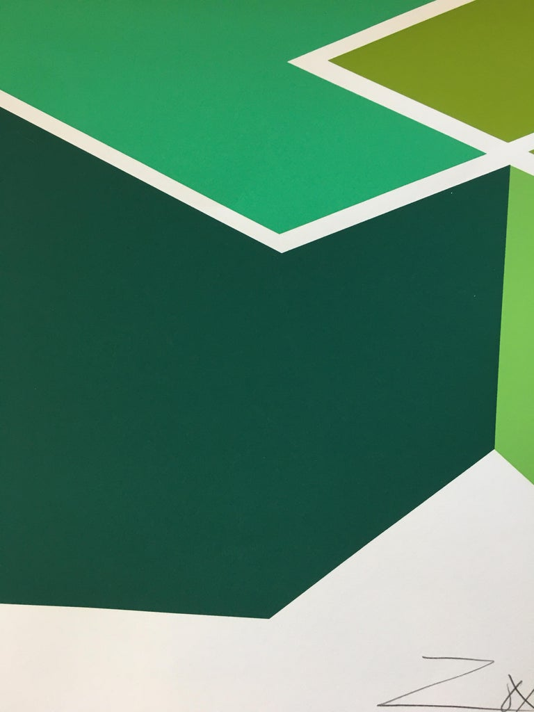 Larry Zox 'Double Green' Signed Limited Edition Geometric Abstract Print For Sale 1