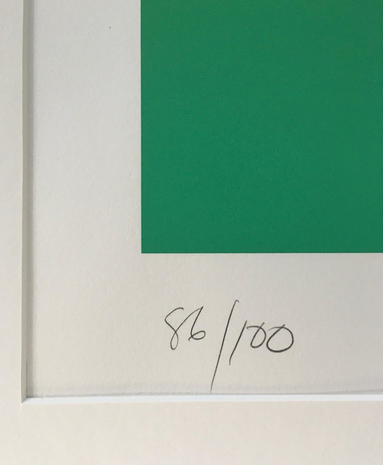Larry Zox 'Double Green' Signed Limited Edition Geometric Abstract Print For Sale 2