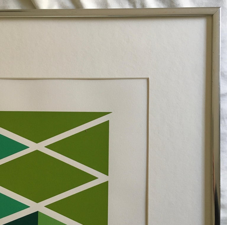 Larry Zox 'Double Green' Signed Limited Edition Geometric Abstract Print For Sale 3