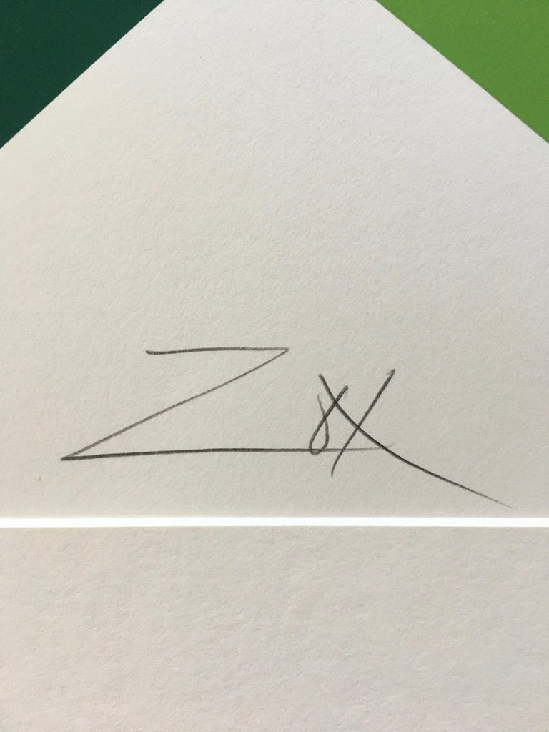 Larry Zox 'Double Green' Signed Limited Edition Geometric Abstract Print For Sale 4