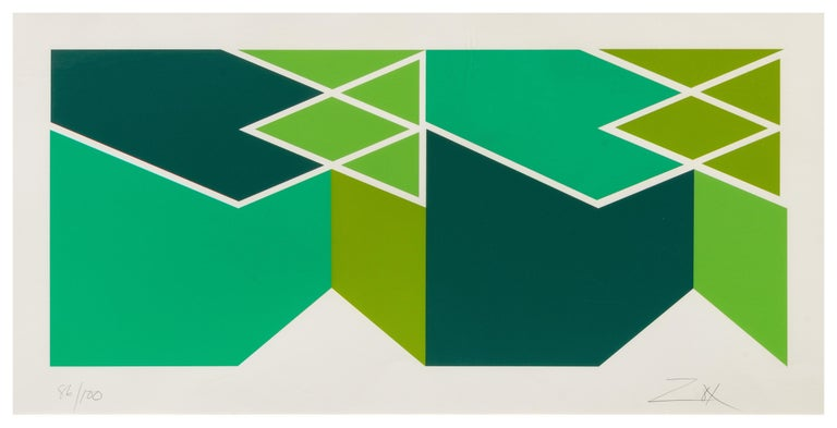 """Larry Zox (American, 1936 - 2006) Double Green Serigraph Edition 86/100 Signed and numbered in pencil Sheet 12in H  x 27 1/4 in L In a silver metal frame: 38in L x 21 5/8"""" H x ¾"""" D"""