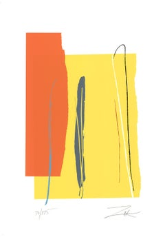 "Larry Zox-Relativity-42.25"" x 29.75""-Serigraph-1975-Abstract-Yellow, Orange"