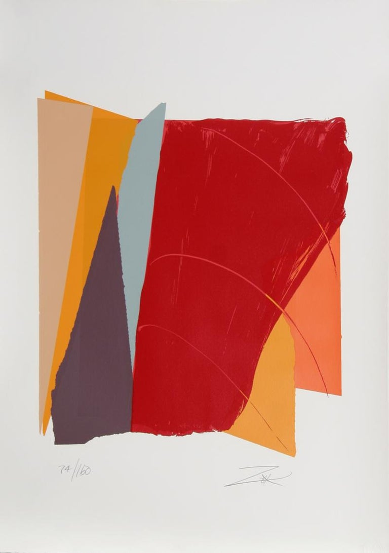 Artist: Larry Zox, American (1937 - 2006) Title: Red Line I Year: 1979 Medium: Silkscreen, Signed and numbered in Pencil Edition: 160 Image Size: 26 x 23 inches Size: 42 x 29.5 inches [106.68 x 73.66 cm]