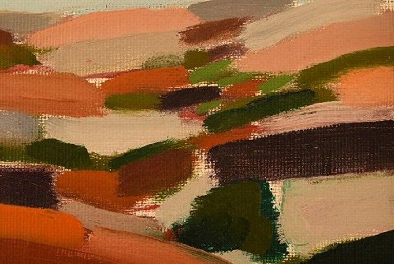 Scandinavian Modern Lars Bertle Swedish Artist Oil on Plate,