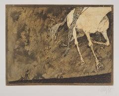 The Departure of The Horserider, 1975 - Original Handsigned Etching