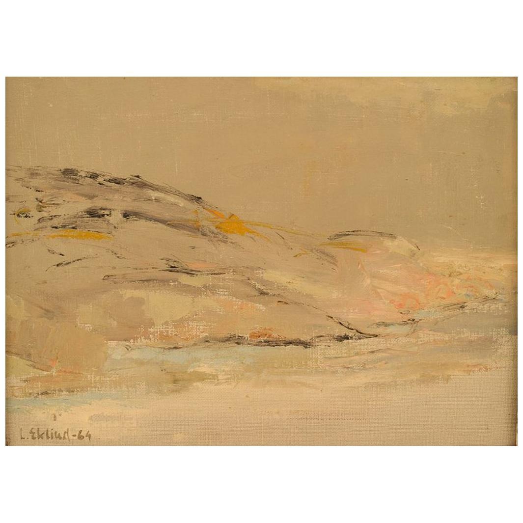 Lars Eklind, Swedish Artist, Oil on Canvas, Modernist Landscape,