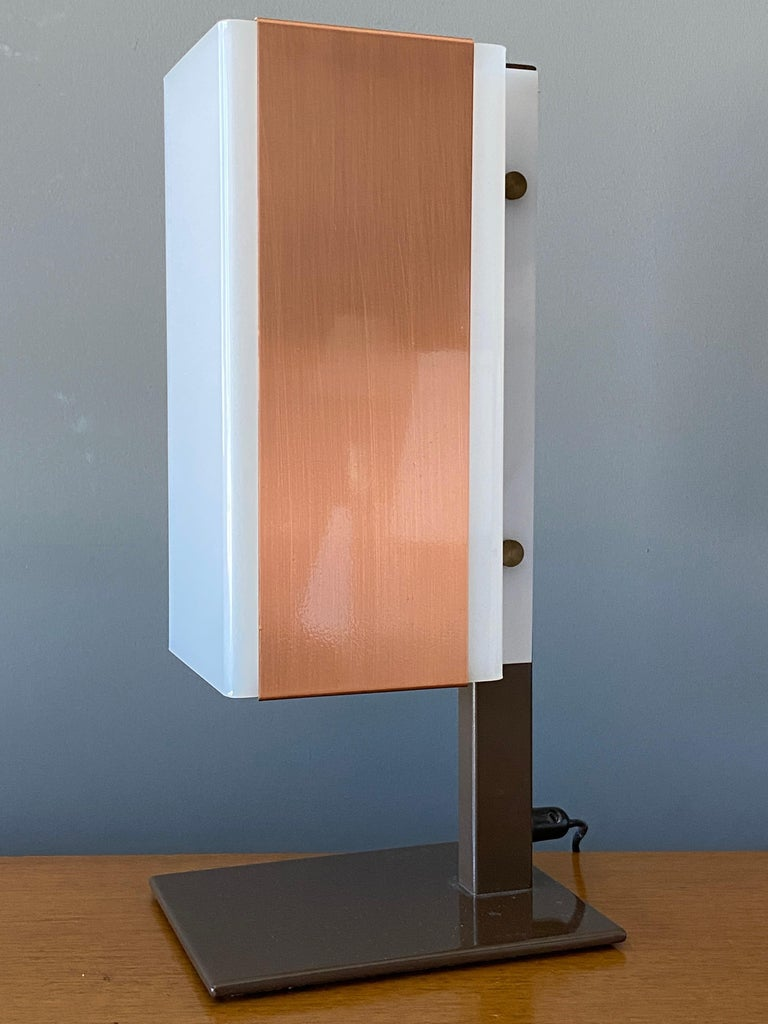 Mid-Century Modern Lars-Gunnar Nordström, Table Lamps Metal, Copper, Acrylic for Metallimestarit For Sale