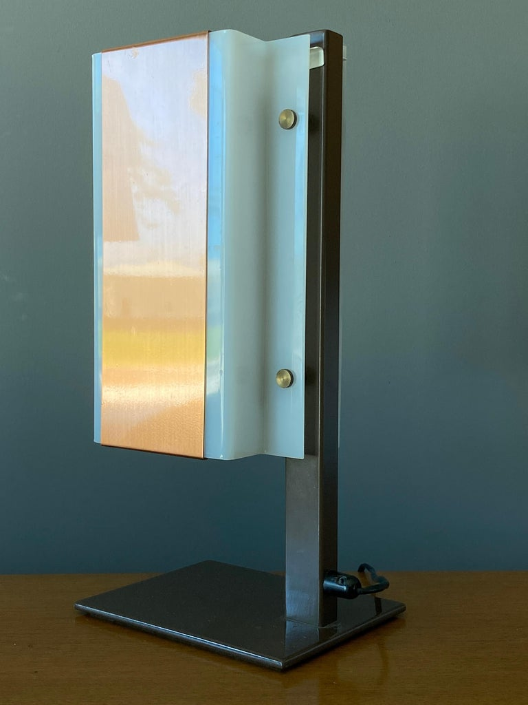 Finnish Lars-Gunnar Nordström, Table Lamps Metal, Copper, Acrylic for Metallimestarit For Sale