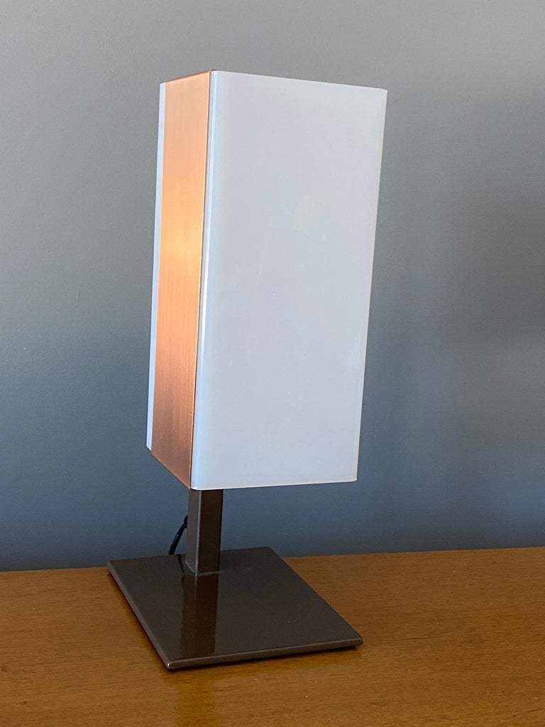 Late 20th Century Lars-Gunnar Nordström, Table Lamps Metal, Copper, Acrylic for Metallimestarit For Sale