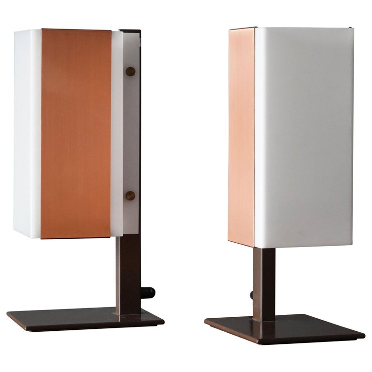 Lars-Gunnar Nordström, Table Lamps Metal, Copper, Acrylic for Metallimestarit For Sale