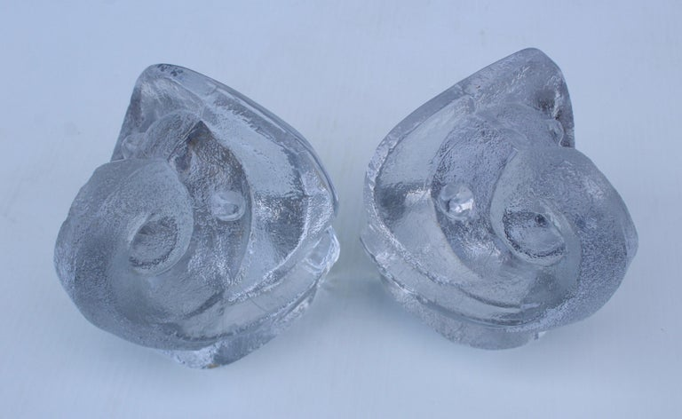 Lars Hellsten for Orreford Glass Elephant Bookends In Good Condition For Sale In New York City, NY