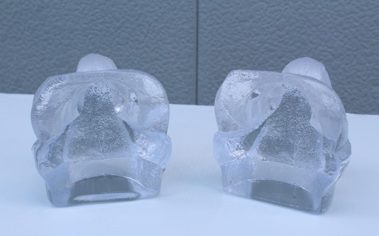 Mid-20th Century Lars Hellsten for Orreford Glass Elephant Bookends For Sale