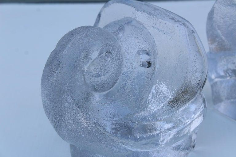 Art Glass Lars Hellsten for Orreford Glass Elephant Bookends For Sale