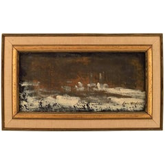 Lars Herder, Swedish Painter, Oil on Plate, Modernist Landscape