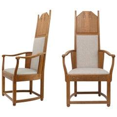 Lars Israel Wahlman Designed High Back Oak Swedish Arts & Crafts Armchairs