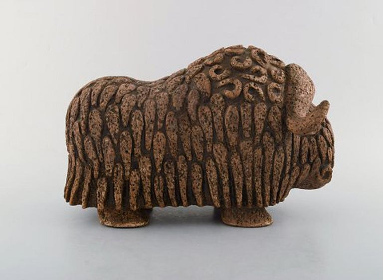 Scandinavian Modern Lars Pagfeldt 'Sweden' for Tengod, Large Musk Ox in Stoneware For Sale