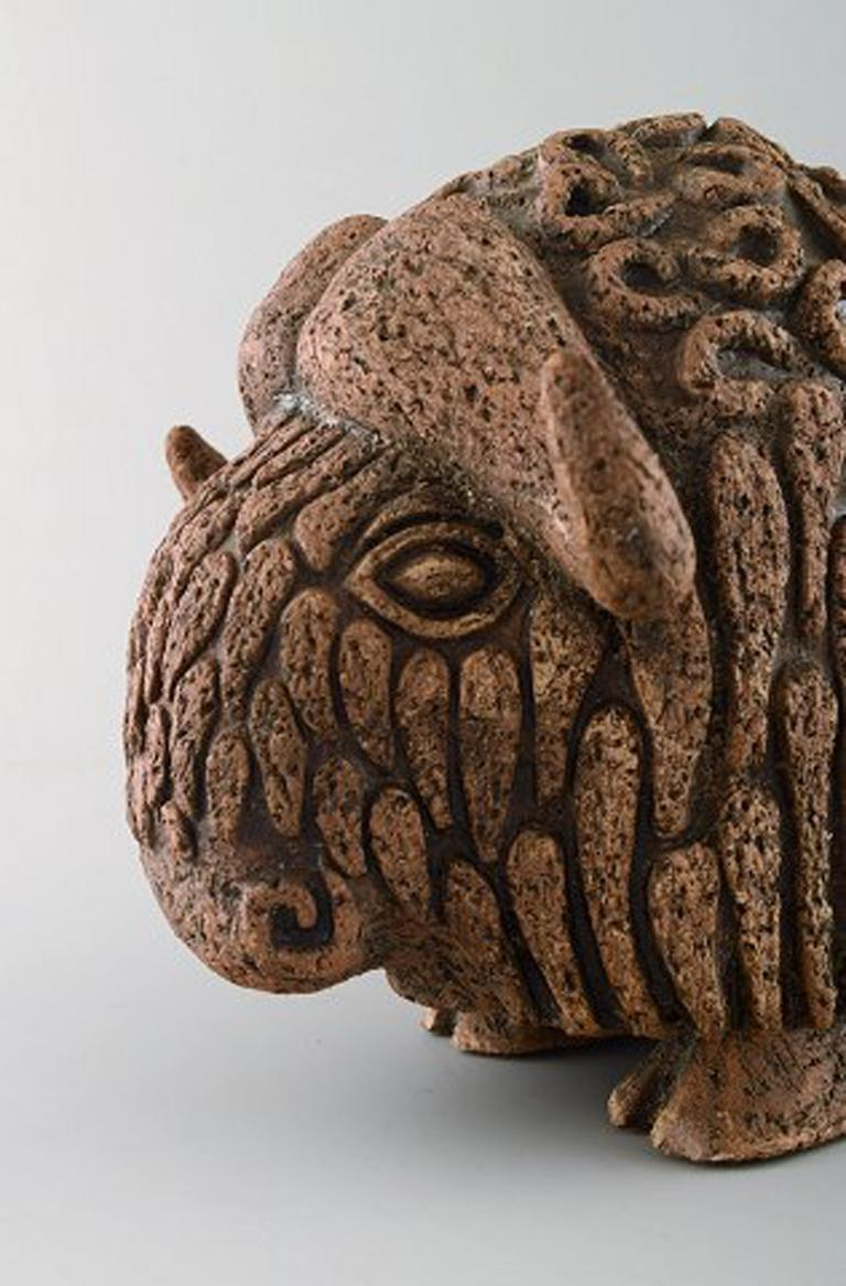 Mid-20th Century Lars Pagfeldt 'Sweden' for Tengod, Large Musk Ox in Stoneware For Sale