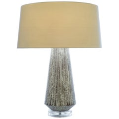 Larson Table Lamp in White and Brown Textured Ceramic by CuratedKravet