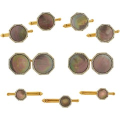 Larter Edwardian Black Mother of Pearl 9-Piece Cufflink Set
