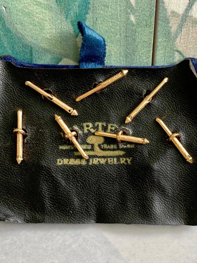 Round Cut Larter & Son 9 pc Art Deco Onyx 10 Karat Yellow & White Gold Cufflink & Stud Set For Sale