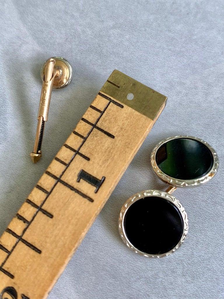 Larter & Son 9 pc Art Deco Onyx 10 Karat Yellow & White Gold Cufflink & Stud Set For Sale 1