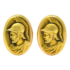 Larter & Sons 1905 Art Nouveau 14 Karat Gold Ajax Greek Warrior Men's Cufflinks