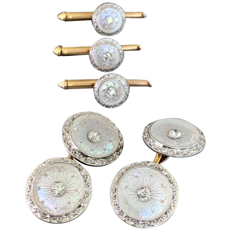 Larter & Sons Art Deco Diamond Mother of Pearl 18k Gold Cufflinks and Stud Set For Sale