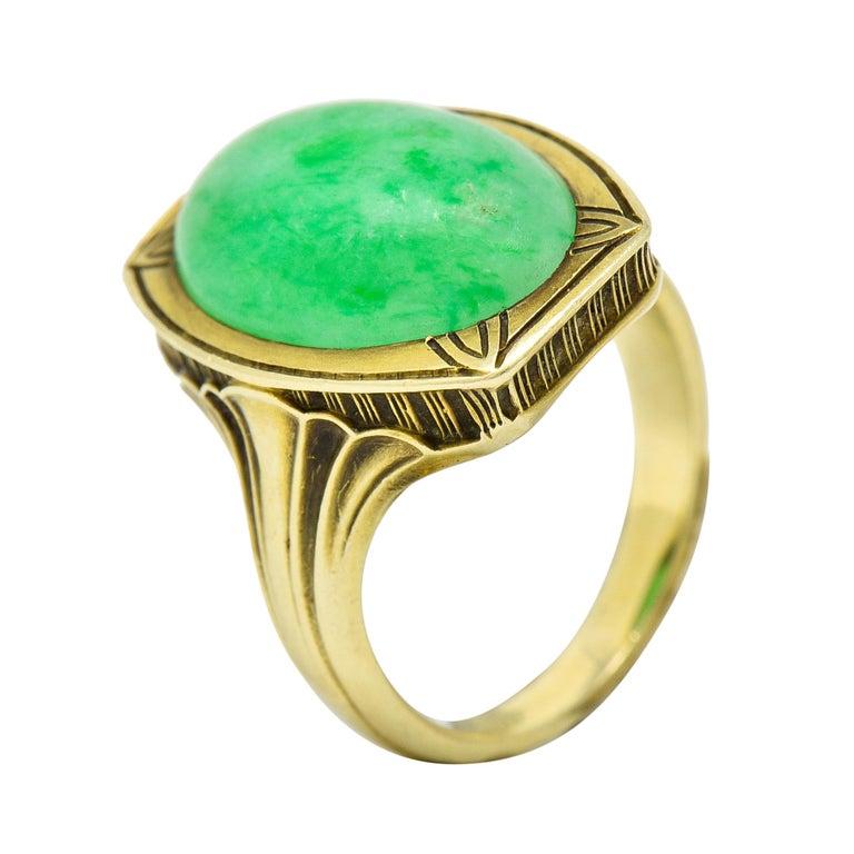 Larter & Sons Art Deco Jadeite Jade Cabochon 14 Karat Gold Lotus Ring For Sale 6