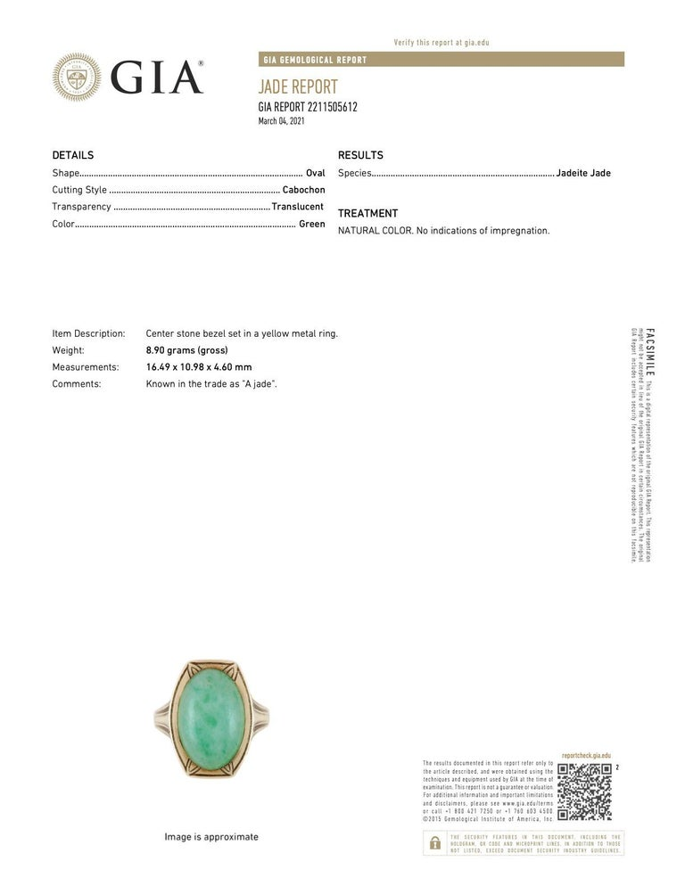 Larter & Sons Art Deco Jadeite Jade Cabochon 14 Karat Gold Lotus Ring For Sale 7