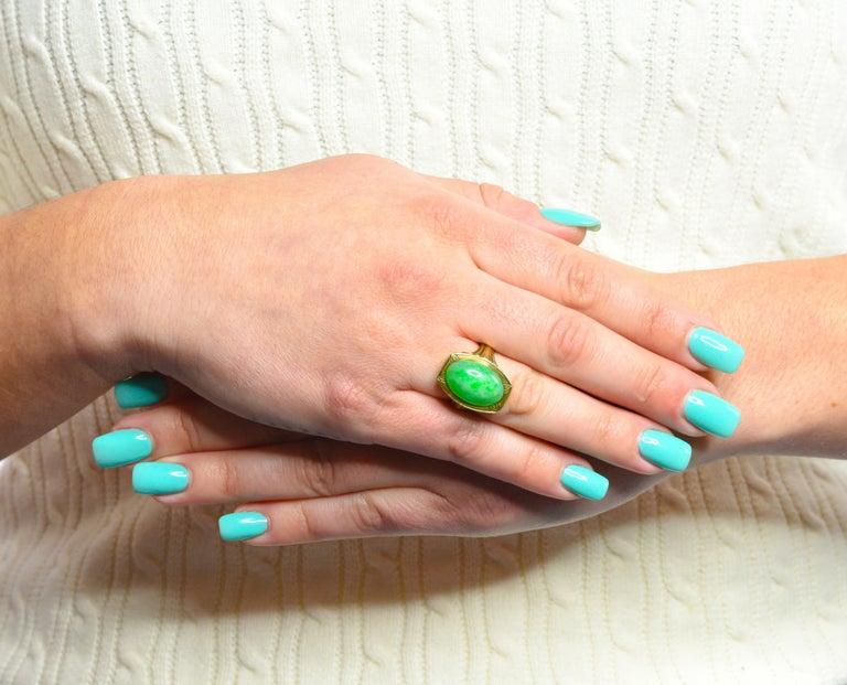 Larter & Sons Art Deco Jadeite Jade Cabochon 14 Karat Gold Lotus Ring For Sale 8