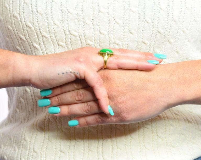Larter & Sons Art Deco Jadeite Jade Cabochon 14 Karat Gold Lotus Ring For Sale 9