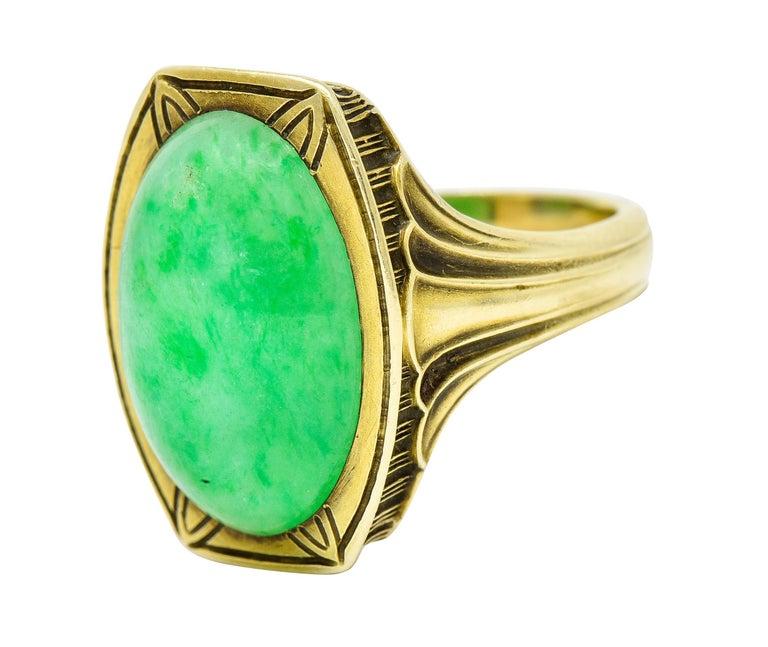 Larter & Sons Art Deco Jadeite Jade Cabochon 14 Karat Gold Lotus Ring For Sale 2