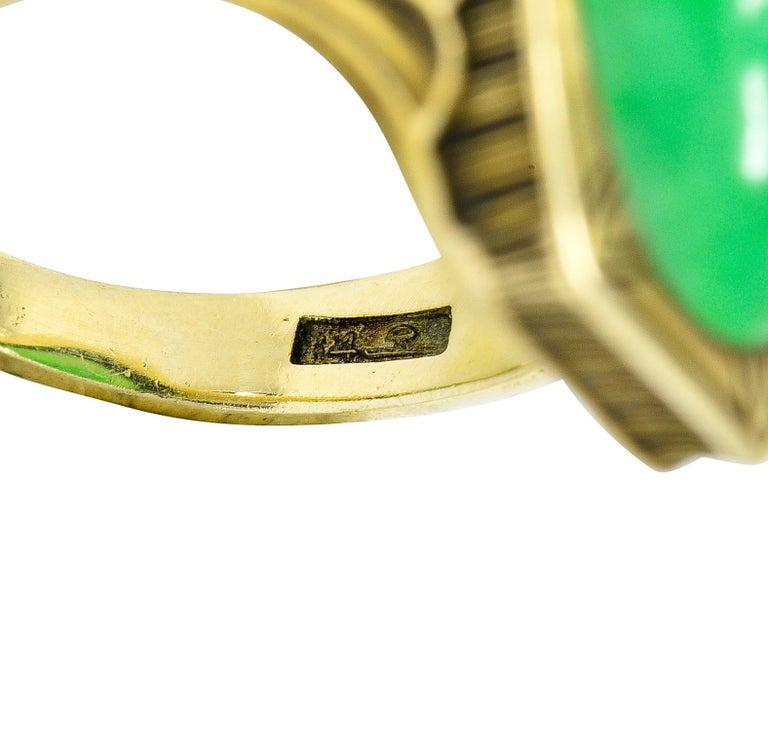Larter & Sons Art Deco Jadeite Jade Cabochon 14 Karat Gold Lotus Ring For Sale 3