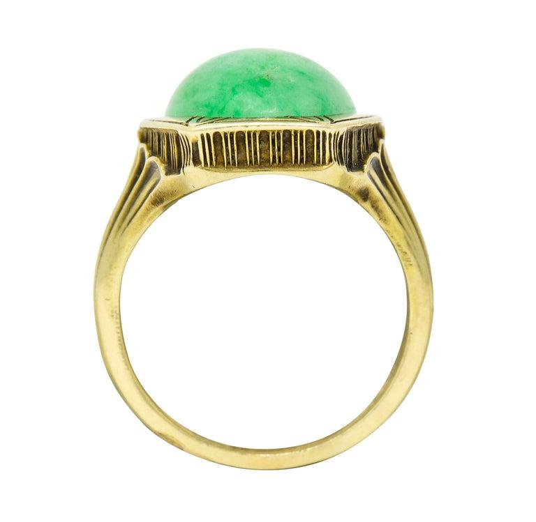 Larter & Sons Art Deco Jadeite Jade Cabochon 14 Karat Gold Lotus Ring For Sale 4