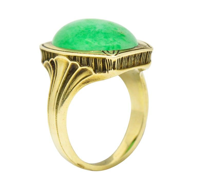 Larter & Sons Art Deco Jadeite Jade Cabochon 14 Karat Gold Lotus Ring For Sale 5