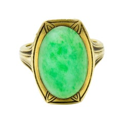 Larter & Sons Art Deco Jadeite Jade Cabochon 14 Karat Gold Lotus Ring