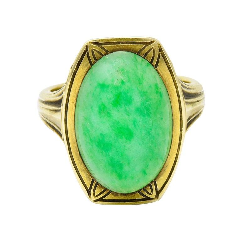 Larter & Sons Art Deco Jadeite Jade Cabochon 14 Karat Gold Lotus Ring For Sale