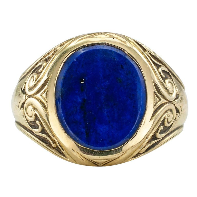 Larter & Sons Art Nouveau Lapis Lazuli Gold Ring In Good Condition For Sale In Los Angeles, CA