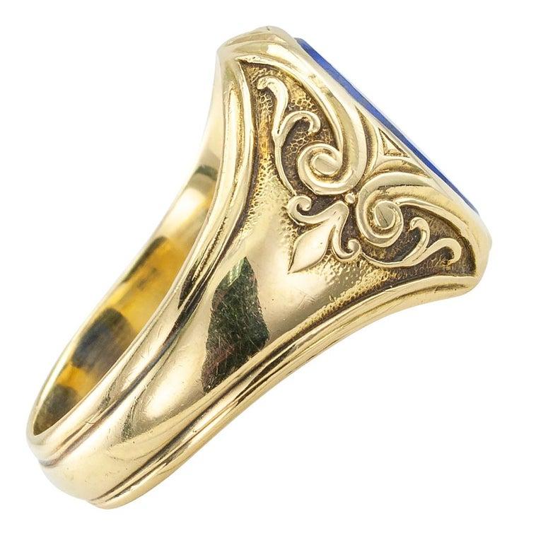 Women's or Men's Larter & Sons Art Nouveau Lapis Lazuli Gold Ring For Sale