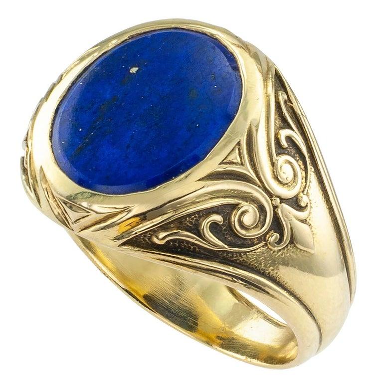 Larter & Sons Art Nouveau Lapis Lazuli Gold Ring For Sale