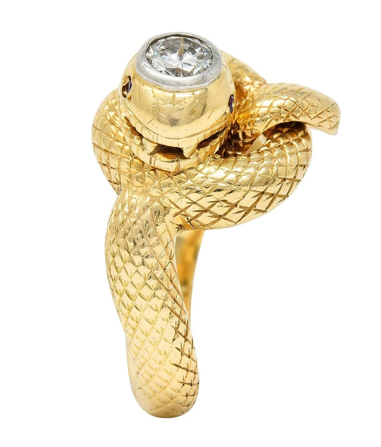 Larter & Sons Diamond Ruby 14 Karat Two-Tone Gold Snake Ring For Sale 4