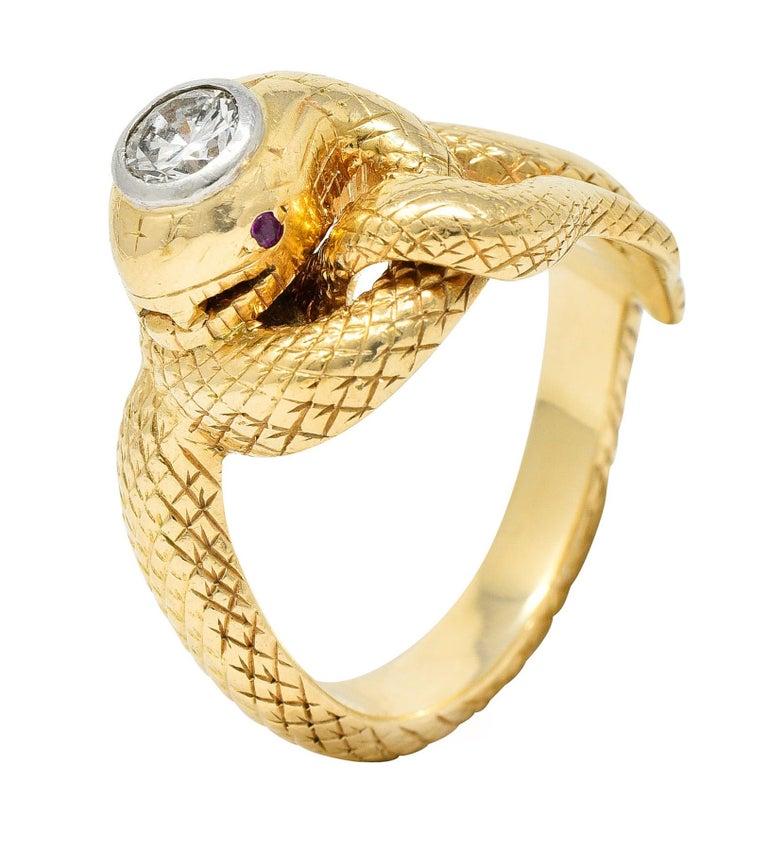 Larter & Sons Diamond Ruby 14 Karat Two-Tone Gold Snake Ring For Sale 5