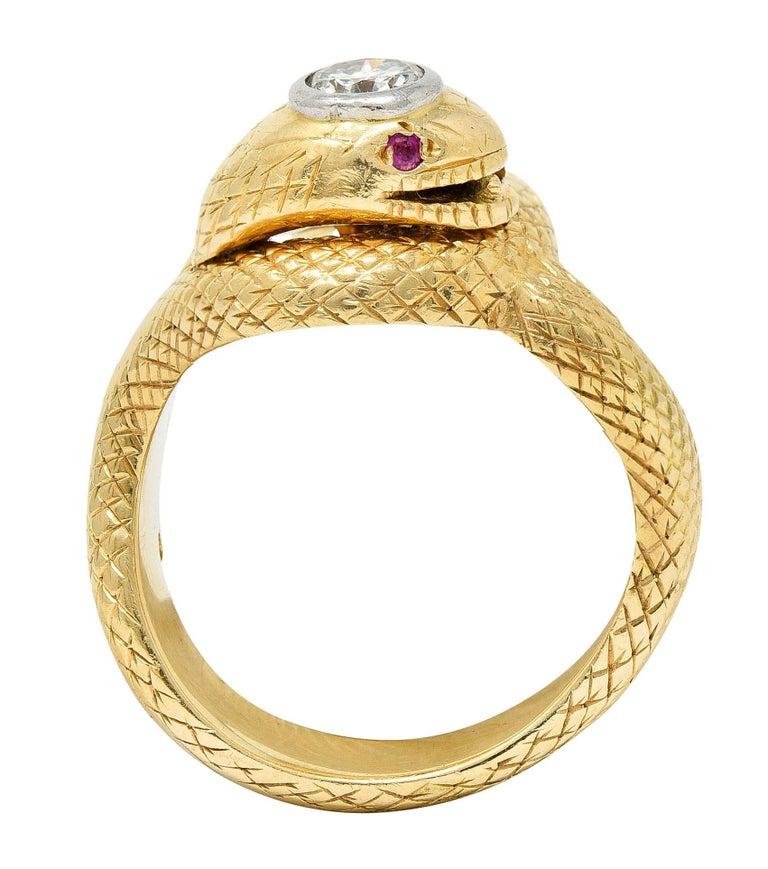 Larter & Sons Diamond Ruby 14 Karat Two-Tone Gold Snake Ring For Sale 6