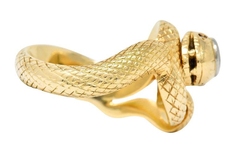 Edwardian Larter & Sons Diamond Ruby 14 Karat Two-Tone Gold Snake Ring For Sale