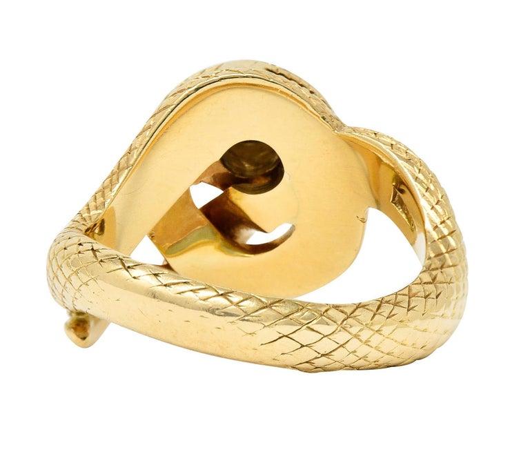 Brilliant Cut Larter & Sons Diamond Ruby 14 Karat Two-Tone Gold Snake Ring For Sale