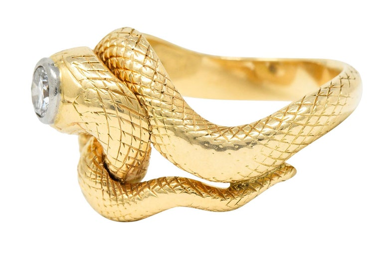 Larter & Sons Diamond Ruby 14 Karat Two-Tone Gold Snake Ring In Excellent Condition For Sale In Philadelphia, PA