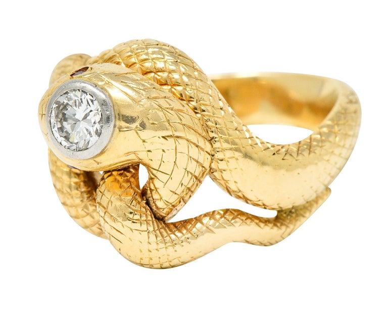 Women's or Men's Larter & Sons Diamond Ruby 14 Karat Two-Tone Gold Snake Ring For Sale