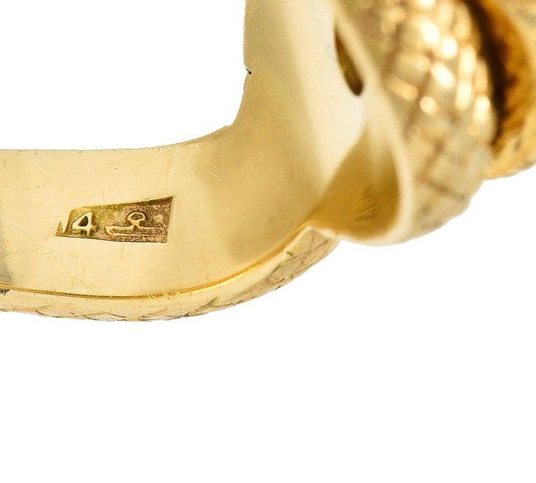 Larter & Sons Diamond Ruby 14 Karat Two-Tone Gold Snake Ring For Sale 1